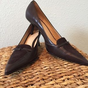 LOFT Pointy toed heels with bow detail 8.5 M brown